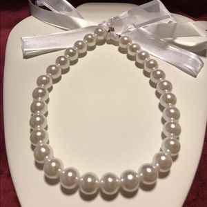 Large Simulated Pearl Necklace